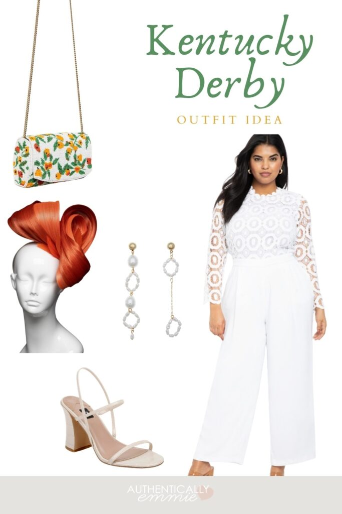 Kentucky Derby plus size outfit idea featuring a white jumpsuit and bright silk fascinator.