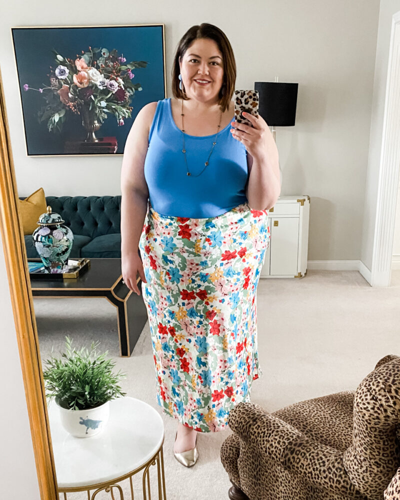 Summer plus size outfit with tank and satin maxi skirt