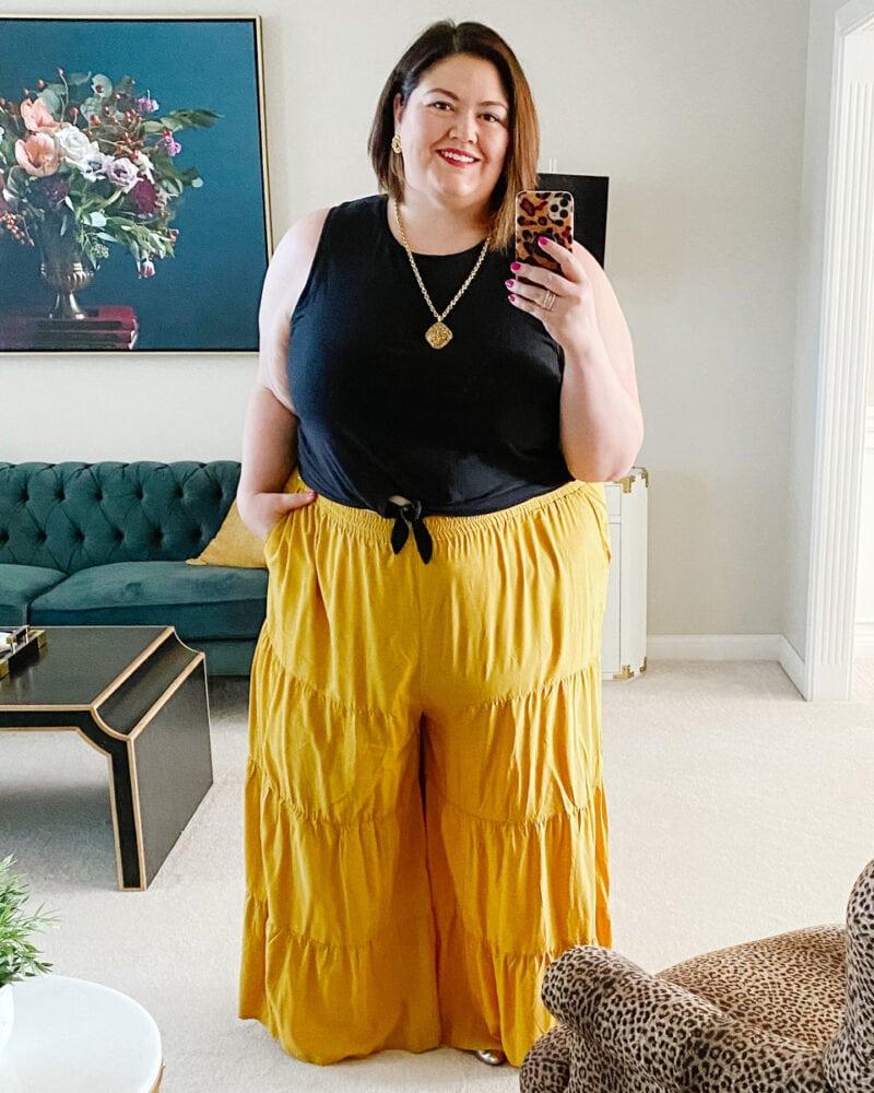 Plus size wide leg palazzo pants outfit
