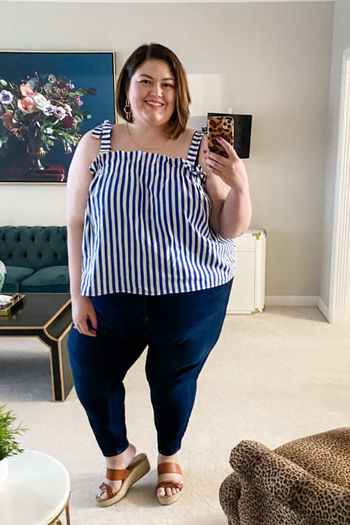 Linen tank top outfit idea from plus size influencer Authentically Emmie
