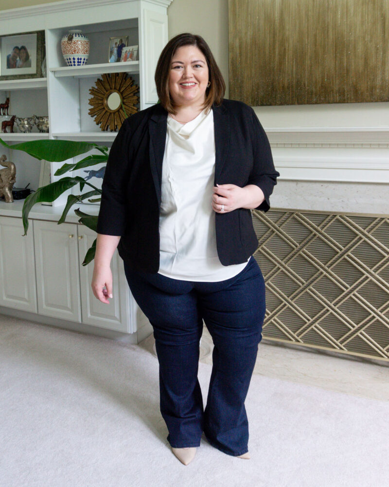 Universal Standard size inclusive outfit of blazer and jeans