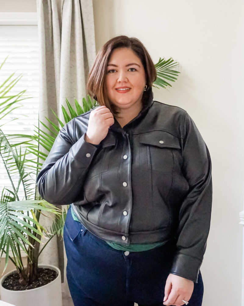 Size inclusive leather jacket from Universal Standard now on sale
