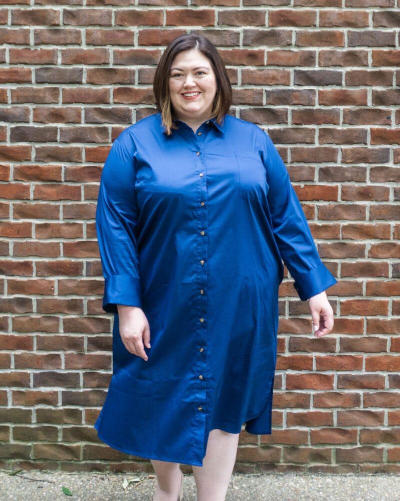 Stretch poplin dress in royal blue