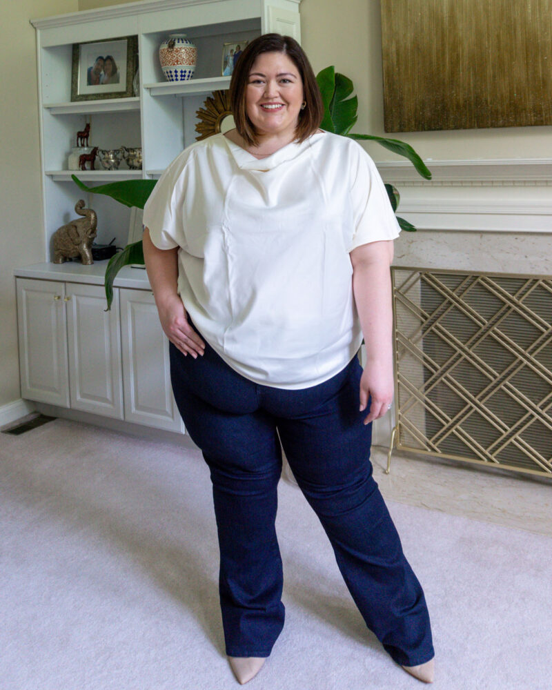 Draped neck top and flare jeans from plus size influencer Authentically Emmie
