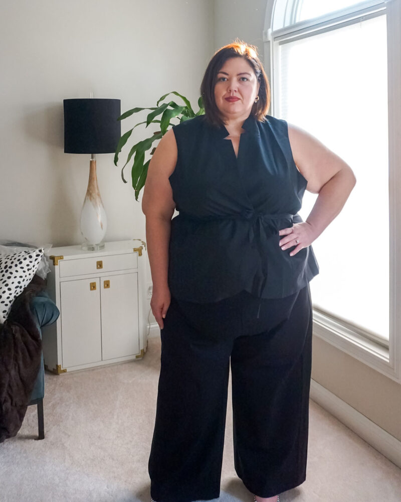 Sleeveless suiting plus size look from Universal Standard on Louisville influencer Emily Ho